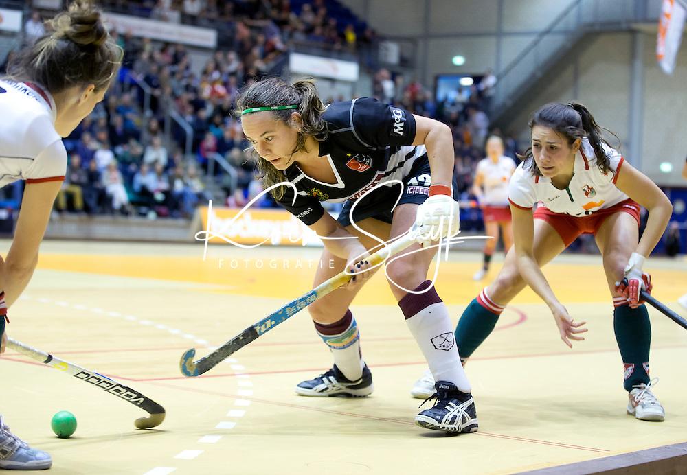 ROTTERDAM -  Kiki Collot d'Escury van Amsterdam tijdens de  finale zaalhockey om het Nederlands kampioenschap tussen de  vrouwen  van Amsterdam en MOP.  Amsterdam wint de finale en dus het Kampioenschap.ANP KOEN SUYK