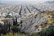 Griekenland, Athene, 5-7-2008Uitzicht op de stad en Piraeus bij zonsondergang. LandschapFoto: Flip Franssen
