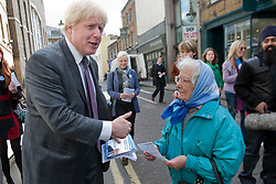 © licensed to London News Pictures. London, UK 10/04/2012. Boris Johnson asking for votes from Londoners as he launches his campaign to be Mayor of London again, in Richmond, this noon (10/04/12). Photo credit: Tolga Akmen/LNP