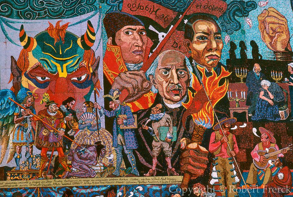 MEXICO, MEXICO CITY, MURAL mural of Hidalgo, Morelos, Juarez