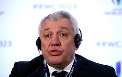 France 2023 bid president Claude Atcher during the 2023 Rugby World Cup host union announcement at The Royal Garden Hotel, Kensington.