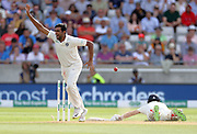 Bowler Ravi Ashwin celebrates the run out of captain Joe Root (right) during the first Test Match between England and India at Edgbaston, Birmingham. Photo: Graham Morris  / www.photosport.nz