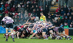 Dragons' Charlie Davies puts in to the scrum<br /> <br /> Photographer Simon King/Replay Images<br /> <br /> Guinness Pro14 Round 11 - Dragons v Cardiff Blues - Tuesday 26th December 2017 - Rodney Parade - Newport<br /> <br /> World Copyright © 2017 Replay Images. All rights reserved. info@replayimages.co.uk - www.replayimages.co.uk