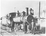 """RGS 2-8-0 #17 with crew at Durango.<br /> RGS  Durango, CO  ca. 1910-1920<br /> In book """"RGS Story, The Vol. XI: Durango and the Perins Peak Branch"""" page 175"""
