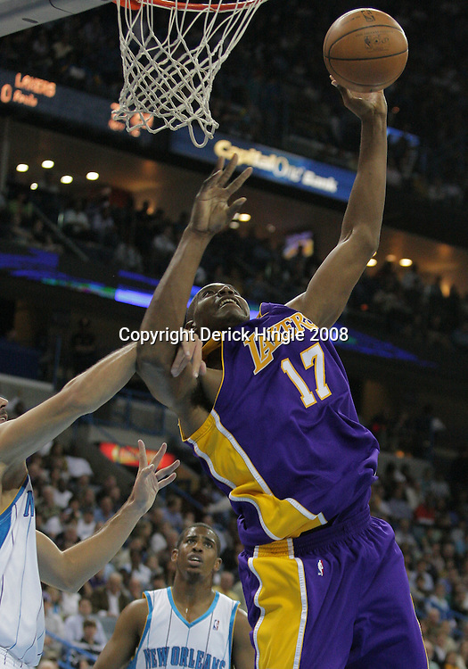 12 November 2008: Los Angeles Lakers center Andrew Bynum (17) is fouled by New Orleans Hornets forward Peja Stojakovic (16) during a 93-86 win by the Los Angeles Lakers over the New Orleans Hornets at at the New Orleans Arena in New Orleans, LA..