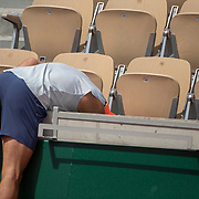 PARIS, FRANCE May 23.  Rafael Nadal of Spain retrieves a ball while training on Court Suzanne Lenglen in preparation for the 2019 French Open Tennis Tournament at Roland Garros on May 23rd 2019 in Paris, France. (Photo by Tim Clayton/Corbis via Getty Images)