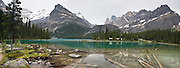 Cabins of Lake O'Hara Lodge, Yoho National Park, British Columbia, Canada. Yoho is part of the Canadian Rocky Mountain Parks World Heritage Site declared by UNESCO in 1984. Panorama stitched from 34 images.