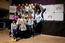 Girls posing during event Miss Sports of Slovenia 2012, on April 21, 2012, in Festivalna dvorana, Ljubljana, Slovenia. (Photo by Urban Urbanc / Sportida.com)
