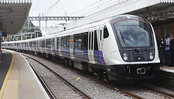 A general view of an Elizabeth Line train as it enters service travelling from Liverpool Street station in London to Shenfield in Essex.