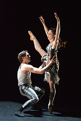 """© Licensed to London News Pictures. 18/06/2015. London, UK. Pictured: """"A Touch for Eternity"""" choreographed by James Streeter, with Adela Ramirez and Juan Rodriguez performing. The English National Ballet (ENB) presents Choreographics, dance created by emerging and developing choreographers inspired by the theme of """"Post-War America"""" at the Lilian Baylis Studio/Sadler's Wells. Photo credit : Bettina Strenske/LNP"""