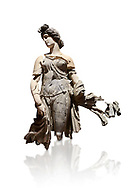 Roman statue of a Dancing Woman . Marble. Perge. 2nd century AD. Inv no 10.29.81 . Antalya Archaeology Museum; Turkey. Against a white background. .<br /> <br /> If you prefer to buy from our ALAMY STOCK LIBRARY page at https://www.alamy.com/portfolio/paul-williams-funkystock/greco-roman-sculptures.html . Type -    Antalya     - into LOWER SEARCH WITHIN GALLERY box - Refine search by adding a subject, place, background colour, museum etc.<br /> <br /> Visit our ROMAN WORLD PHOTO COLLECTIONS for more photos to download or buy as wall art prints https://funkystock.photoshelter.com/gallery-collection/The-Romans-Art-Artefacts-Antiquities-Historic-Sites-Pictures-Images/C0000r2uLJJo9_s0