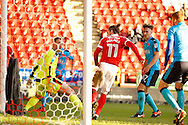 Charlton Athletic midfielder Ricky Holmes (11) scores a goal from close range (score 1-0) during the EFL Sky Bet League 1 match between Charlton Athletic and Fleetwood Town at The Valley, London, England on 4 February 2017. Photo by Andy Walter.