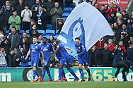 Callum Paterson of Cardiff city (c) celebrates with his teammates after he scores his teams 1st goal. EFL Skybet championship match, Cardiff city v Sunderland at the Cardiff city stadium in Cardiff, South Wales on Saturday 13th January 2018.<br /> pic by Andrew Orchard, Andrew Orchard sports photography.