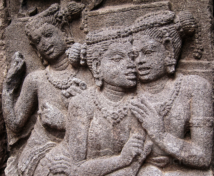 Bas-relief on a wall of Prambanan Hindu compound, Java, Indonesia, Southeast Asia