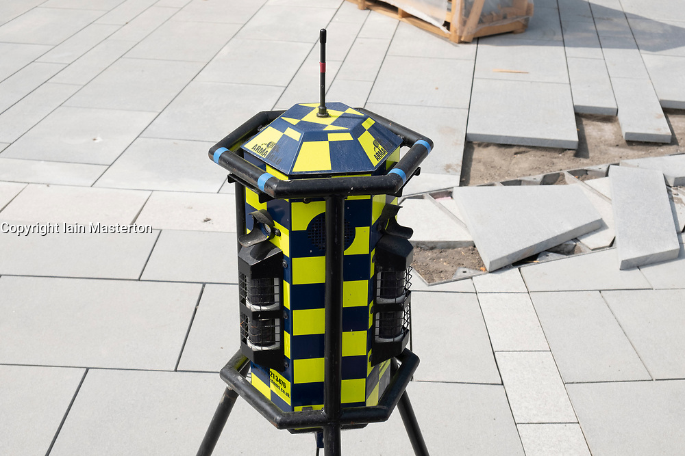 Armadillo perimeter intruder detection system at a construction site in the UK. The system is an armoured battery powered intruder / theft alarm system.