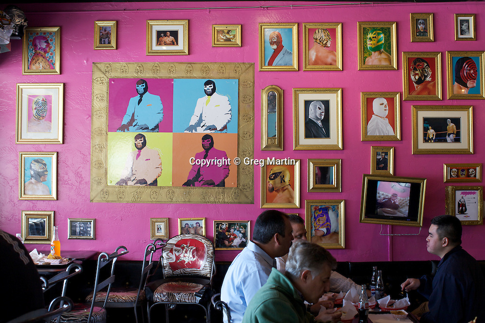 Interior of Lucha Libre Taco Shop in San Diego, California