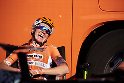 Amy Pieters (NED) laughs with her teammates ahead of Postnord Vårgårda West Sweden Road Race 2018, a 141 km road race in Vårgårda, Sweden on August 13, 2018. Photo by Sean Robinson/velofocus.com