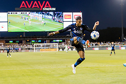 June 13, 2018 - San Jose, CA, U.S. - SAN JOSE, CA - JUNE 13: San Jose Earthquakes Forward Danny Hoesen (9) crosses the ball during the MLS game between the New England Revolution and the San Jose Earthquakes on June 13, 2018, at Avaya Stadium in San Jose, CA. The game ended in a 2-2 tie. (Photo by Bob Kupbens/Icon Sportswire) (Credit Image: © Bob Kupbens/Icon SMI via ZUMA Press)