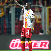 Galatasaray's Emmanuel Eboue celebrates his goal during their Turkish Super League soccer match Galatasaray between Eskisehirspor at the TT Arena at Seyrantepe in Istanbul Turkey on Saturday, 06 October 2012. Photo by TURKPIX
