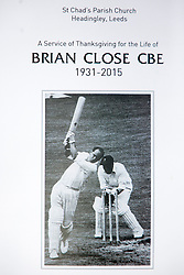 © Licensed to London News Pictures. 30/09/2015. Leeds, UK. . A Remembrance service has taken place for former Yorkshire & England cricket captain Brian Close. Mr Close died at his home in Baildon aged 84 after a long battle with cancer. Photo credit: Andrew McCaren/LNP