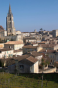 View over the town. The town. From Chateau Ausone vineyard. Saint Emilion, Bordeaux, France