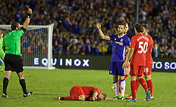 PASADENA, USA - Wednesday, July 27, 2016:  Chelsea Cesc Fabregas reacts after being shown a red card during the International Champions Cup 2016 game against Liverpool  on day seven of the club's USA Pre-season Tour at the Rose Bowl. (Pic by David Rawcliffe/Propaganda)