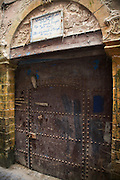 Wooden doorway and arch to office of the nineteenth century Portuguese consul, Essaouira, Morocco