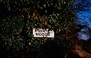 A913H7 Sign saying Private Woods on tree trunk covered with ivy