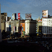 A Panoramic view of Buenos Aires, Argentina showing the Plaza de la Republica on Av 9 de Julio, Obelisco on September 09, 2006 Photo Tim Clayton