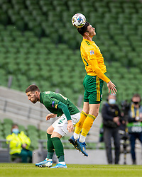 DUBLIN, REPUBLIC OF IRELAND - Sunday, October 11, 2020: Wales' Kieffer Moore wins a header during the UEFA Nations League Group Stage League B Group 4 match between Republic of Ireland and Wales at the Aviva Stadium. The game ended in a 0-0 draw. (Pic by David Rawcliffe/Propaganda)