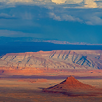 A colorful sandstone butte rises in Valley of the Gods, Utah, formerly part of Bears Ears National Monument.