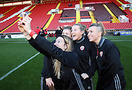 Sheffield United Ladies Sophie Bell (Left) takes a selfie photo during the FA Women's Cup First Round match at Bramall Lane Stadium, Sheffield. Picture date: December 4th, 2016. Pic Clint Hughes/Sportimage