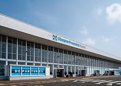 Exterior of passenger terminal at Prestwick Airport in Ayrshire, Scotland, UK