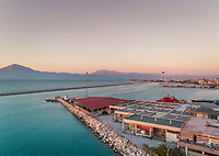Aerial view of beautiful sunset at harbor in Patras, Greece