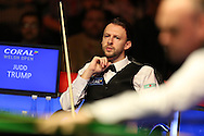 Judd Trump of England looks on from his chair.  Coral Welsh Open Snooker 2017, final match, Judd Trump of England v Stuart Bingham of England at the Motorpoint Arena in Cardiff, South Wales on Sunday 19th February 2017.<br /> pic by Andrew Orchard, Andrew Orchard sports photography.