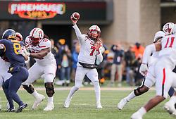 Nov 9, 2019; Morgantown, WV, USA; Texas Tech Red Raiders quarterback Jett Duffey (7) throws a pass during the third quarter against the West Virginia Mountaineers at Mountaineer Field at Milan Puskar Stadium. Mandatory Credit: Ben Queen-USA TODAY Sports