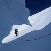 ANTARCTICA. Mountaineer in crevasse on Mt. Vaughan. Queen Maud Mtns. (Trans-Antarctic Range). Alejo Contreras Staeding (MR)