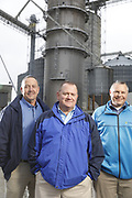 SHOT 10/29/18 9:55:08 AM - Sunrise Cooperative is a leading agricultural and energy cooperative based in Fremont, Ohio with members spanning from the Ohio River to Lake Erie. Sunrise is 100-percent farmer-owned and was formed through the merger of Trupointe Cooperative and Sunrise Cooperative on September 1, 2016. Photographed at the Clyde, Ohio grain elevator was George D. Secor President / CEO and John Lowry<br /> Chairman of the Board of Directors with  CoBank RM Gary Weidenborner. (Photo by Marc Piscotty © 2018)