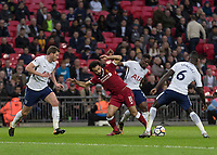 Football - 2017 / 2018 Premier League - Tottenham Hotspur vs. Liverpool<br /> <br /> Mohamed Salah (Liverpool FC) tumbles as he looks for a penalty late into the game at Wembley Stadium.<br /> <br /> COLORSPORT/DANIEL BEARHAM