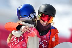 February 19, 2018 - Pyeongchang, SOUTH KOREA - 180219 Silje Norendal of Norway hugs Anna Gasser of Austria after the Women's Big Air Qualification during day ten of the 2018 Winter Olympics on February 19, 2018 in Pyeongchang..Photo: Carl Sandin / BILDBYRN / kod CS / 57999_306 (Credit Image: © Carl Sandin/Bildbyran via ZUMA Press)