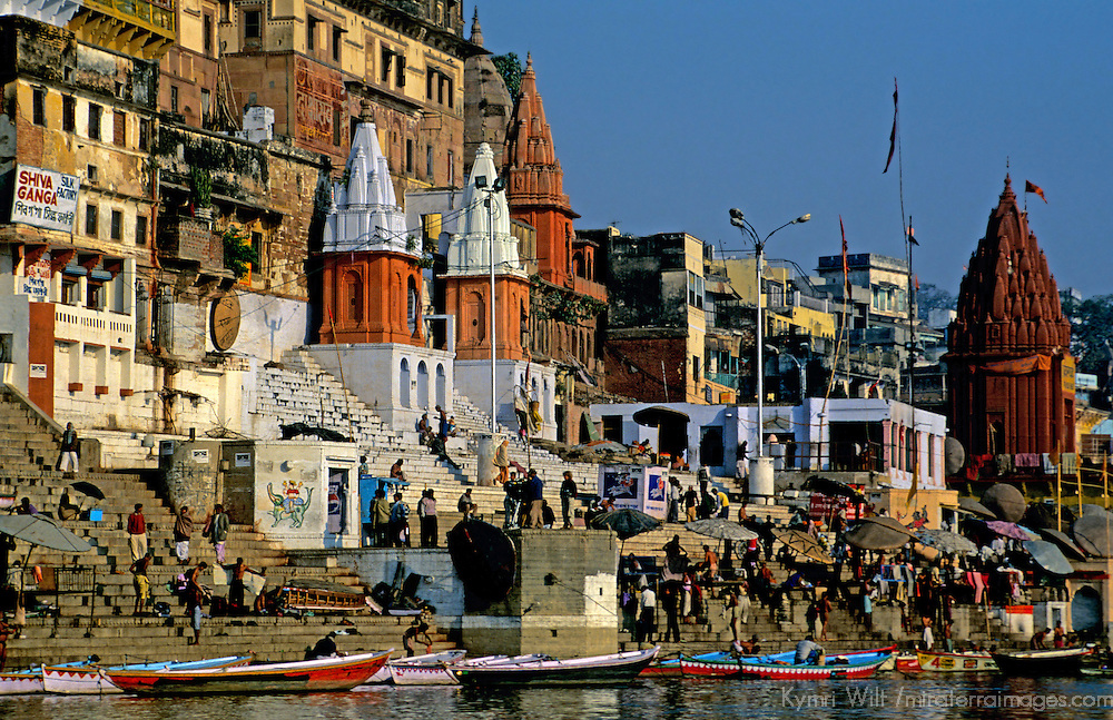 Asia, India, Varanasi. Activity on the ghats of the Ganges River in Varanasi.