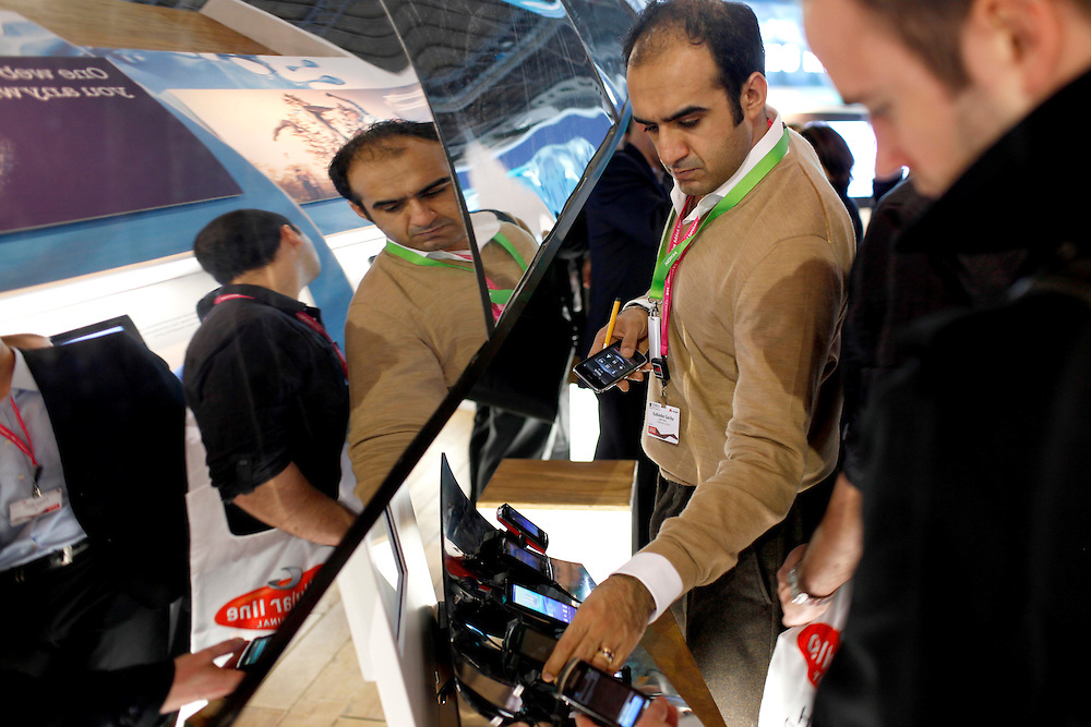 February 16th, 2010.  The World Mobile Congress  (15-18th 2010). The MWC meets for four days the best companies of mobile telephony. All brands will set out their latest developments in mobile technology..PHOTO: TONI VILCHES.
