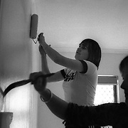 Jen (right) and Jane decorating the baby room at their home in  Sydney, Australia, October 2008. Photo by Tim Clayton..