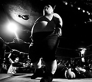 May 14, 2009-Denver, Colorado, USA-Micro Wrestling Federation wreslter Meatball walks away after pinning Justice during the final match of the night. (Credit Image: Bret Hartman/Zuma Press)