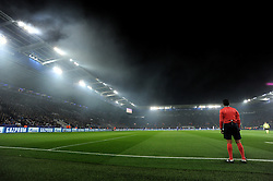 flare smoke hangs in the air inside the King power stadium. - Mandatory by-line: Alex James/JMP - 18/10/2016 - FOOTBALL - King Power Stadium - Leicester, England - Leicester City v FC Copenhagen - UEFA Champions League