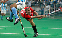 10th World Cup Fieldhockey. Germany vs Argentina 5-2. German captain Florian Kunz tries to score by a penalty corner.