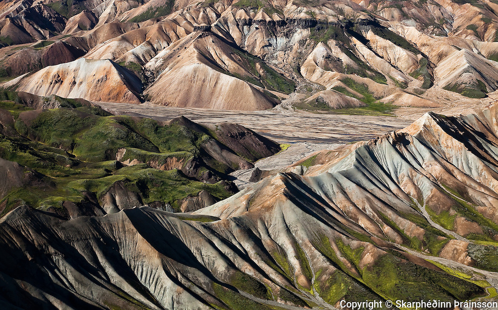 Arial view of Landmannalaugar, central highlands Iceland