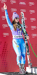 19.01.2013, Olympia delle Tofane, Cortina d Ampezzo, ITA, FIS Weltcup Ski Alpin, Abfahrt, Damen, Podium, im Bild Tina Maze (SLO, Platz 2) // 2nd place Tina Maze of Slovenia celebrate on podium during ladies Downhill of the FIS Ski Alpine World Cup at the Olympia delle Tofane course, Cortina d Ampezzo, Italy on 2013/01/19. EXPA Pictures © 2013, PhotoCredit: EXPA/ Johann Groder