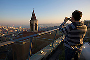 Istanbul. Panoramic view from 360° Istanbul bar and restaurant in Istiklal Street pedestrian zone, at sunset.