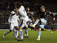Photo: Paul Thomas/Sportsbeat Images.<br />Leeds United v Bury FC. Johnstone's Paint Trophy. 13/11/2007.<br /><br />Andy Bishop (R) of Bury scores his goal to take the lead 2-1.